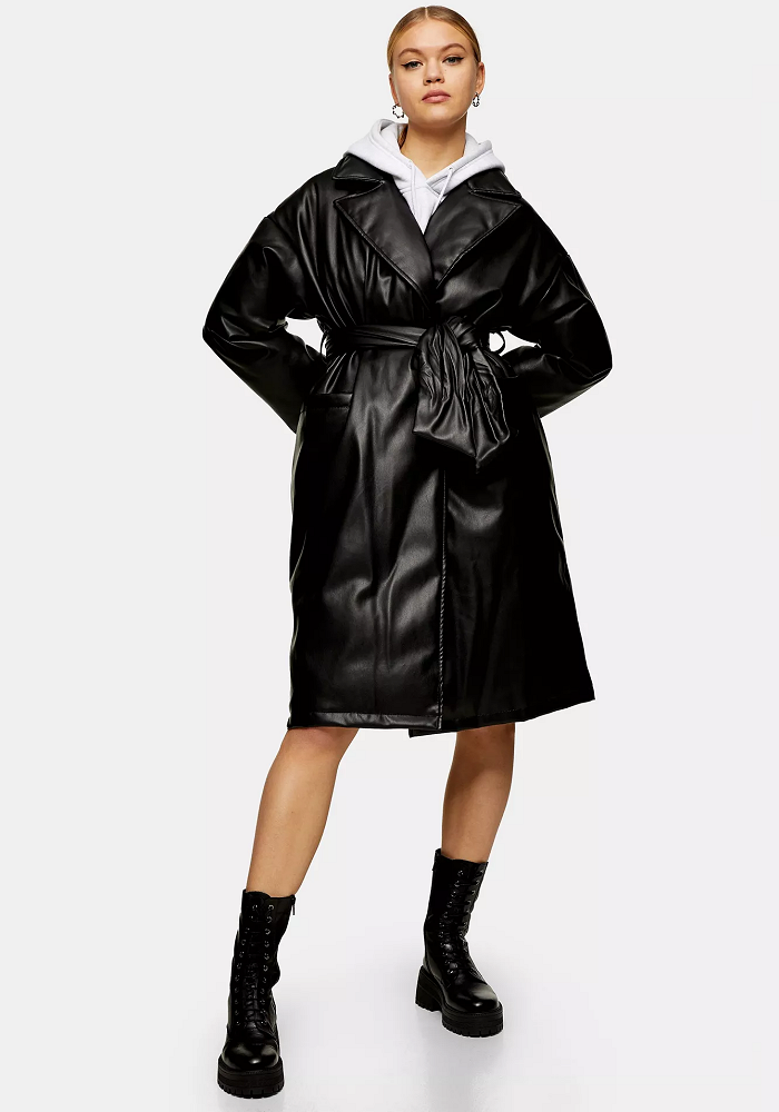 Black PU Padded Belted Coat