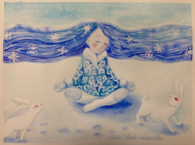 #AideLL #watercolor #maskingfluid #illustration #meditation #winter #whiterabbit #whitebunny #redeye #snowflaces