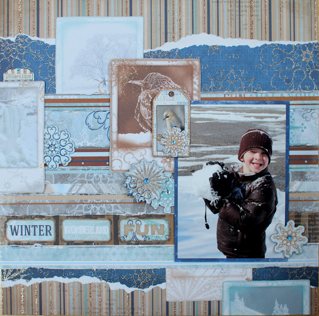 Winter Wonderland Fun Layout Three Ways by Ilene Tell using BoBunny Whiteout collection