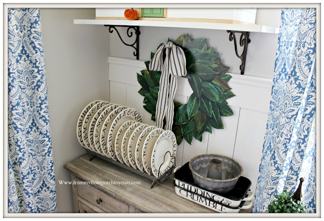 Breakfast -Nook- Makeover-Emma Bridgewater-Dinnerware-Enamelware-Magnolia Wreath-DIY-Wainscoting-From My Front Porch To Yours