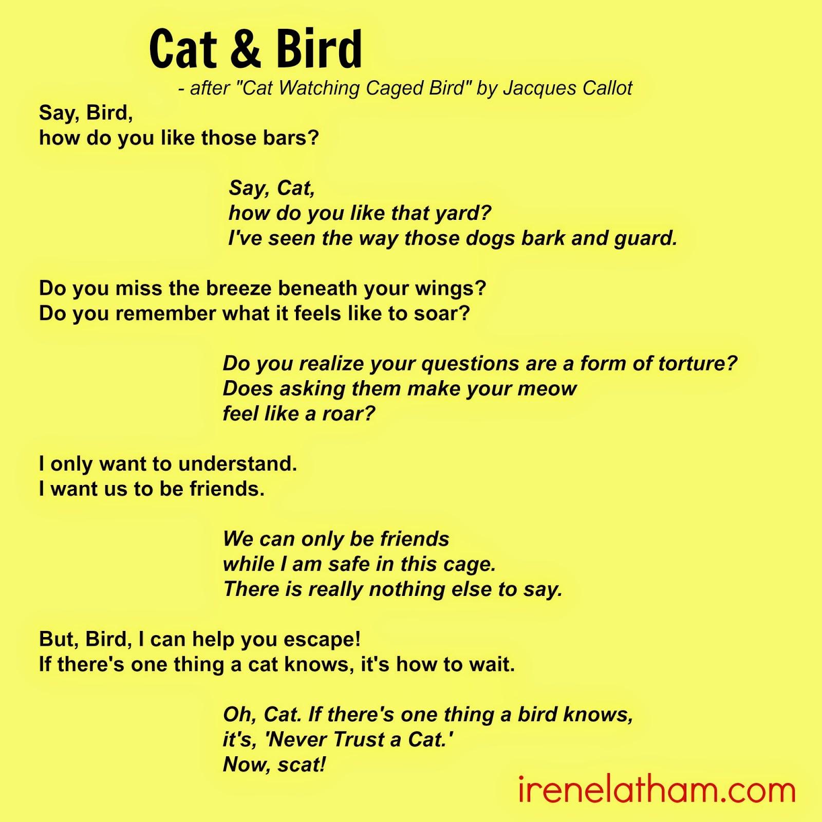"Live Your Poem...: ARTSPEAK! Poem #5 ""Cat & Bird"""
