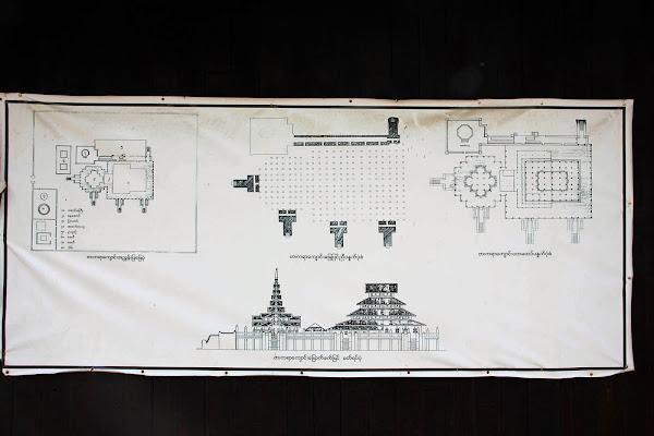 Plano del monasterio Bagaya en Ava (Myanmar)