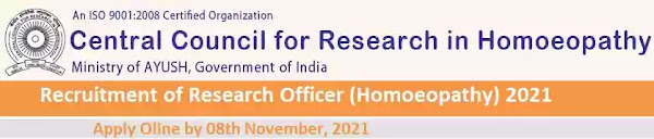 CCRH Research Officer Homoeopathy Vacancy Recruitment 2021