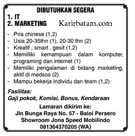 Lowongan Kerja IT dan Marketing di Showroom Jona Speed Mobilindo