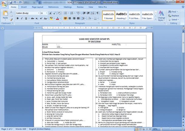 Contoh Soal PTS IPS SMP Kelas 8 Semester Genap