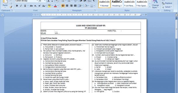 Contoh Soal Pts Ips Smp Kelas 8 Semester Genap Arsip Berkas Edukasi