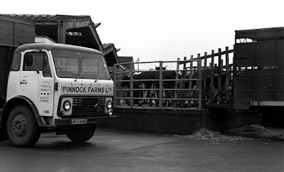 A Pinnock Farms company lorry at Brigg Cattle Market in 1972 - picture used on Nigel Fisher's Brigg Blog in January 2019
