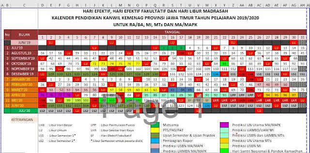 Kalender Pendidikan 2019/2020 Madrasah Jawa Timur Excel