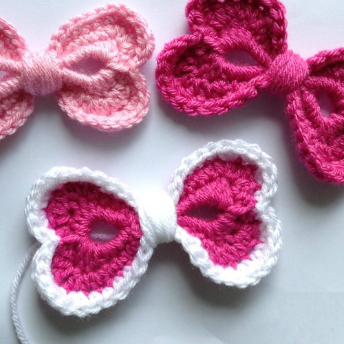 Crochet Hearts Hair Bow - Free Pattern