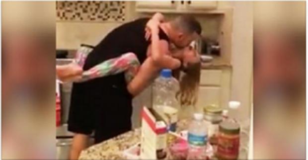 Mom Daughter Surprise Dad