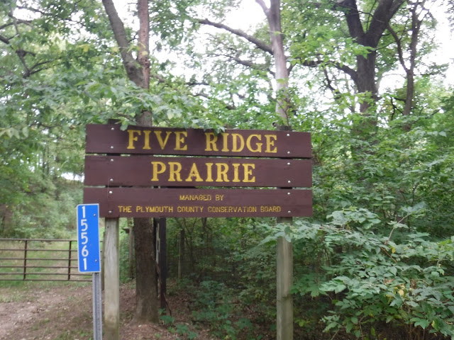 Sign reading Five Ridge Prairie managed by The Plymouth County Conservation Board