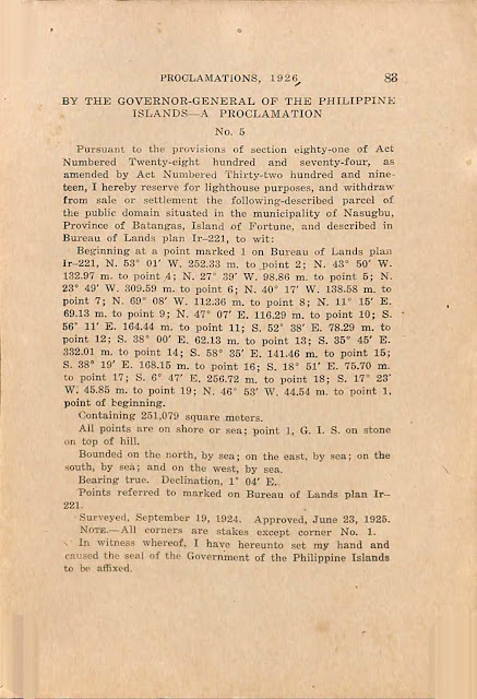Proclamation No. 5 series of 1926 reserving Fortune Island for lighthouse use, English version.