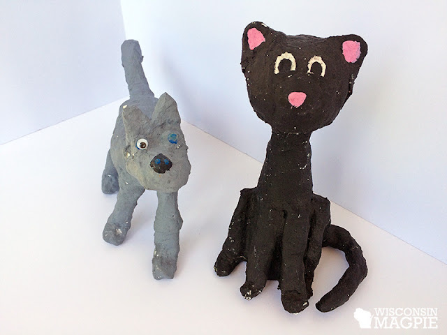 twine-wrapped dog and cat craft project