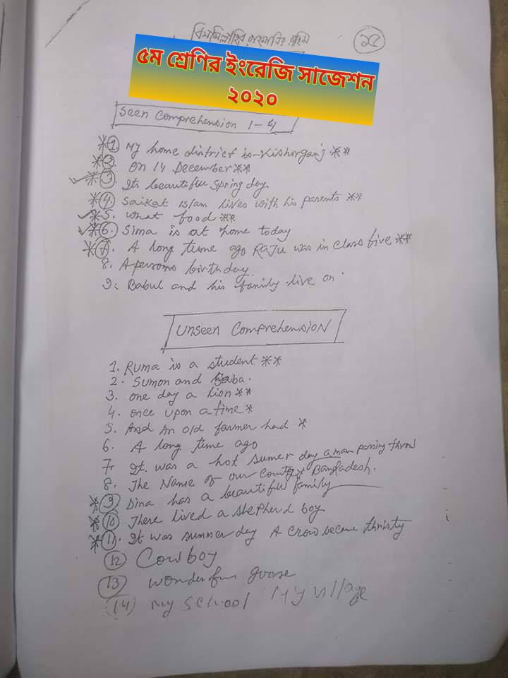 সমাপনী পরীক্ষার ইংরেজি সাজেশন ২০২০ | ৫ম শ্রেণির ইংরেজি সাজেশন ২০২০ | পিএসসি পরীক্ষার ইংরেজি সাজেশন ২০২০