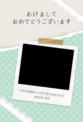 ポラロイド写真フレーム付きのガーリー年賀状