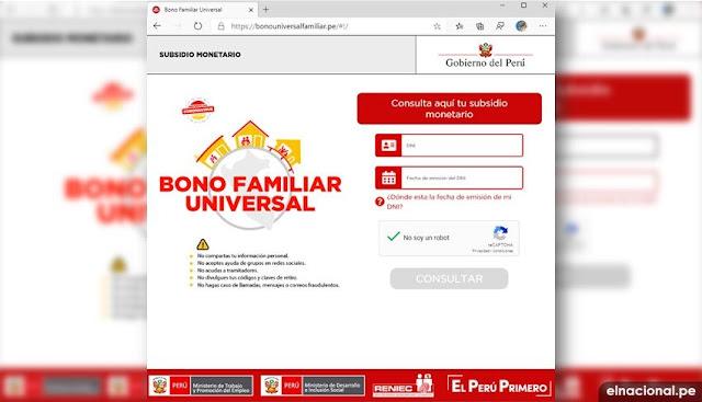 Bono Universal: donde consultar para cobrar el bono universal, link bonouniversalfamiliar.pe