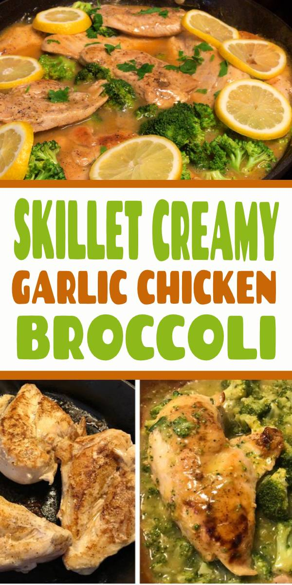 Skillet Creamy Garlic Chicken and Broccoli everyone will love! We used chicken breast for the recipe, but it can easily be made with chicken thighs or legs. #whole30recipes #chicken #chickenbreast #healthyrecipes #easyrecipe