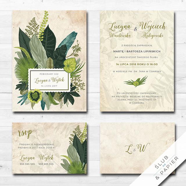 Zaproszenia ślubne z eleganckim motywem tropikalnym od Ślub i Papier.