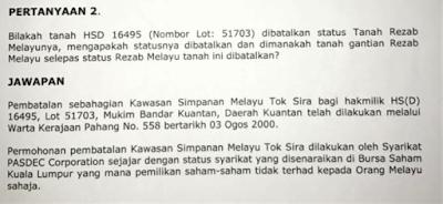 Kronologi Skandal Jual Beli Tanah Rizab Melayu Di Pahang.