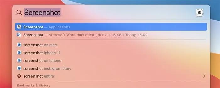 التقاط لقطات الشاشة Cursor Mac Spotlight Search Screenshot App