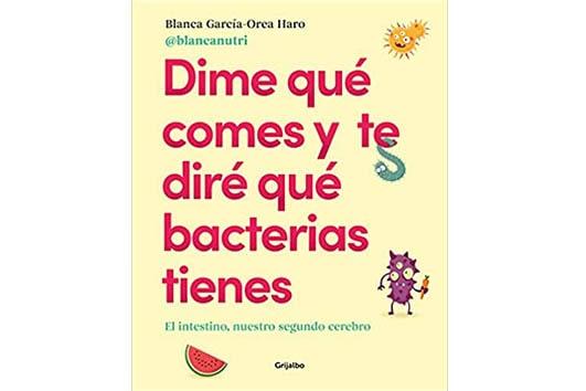 Fondo amarillo con dibujos de fruta y bacterias