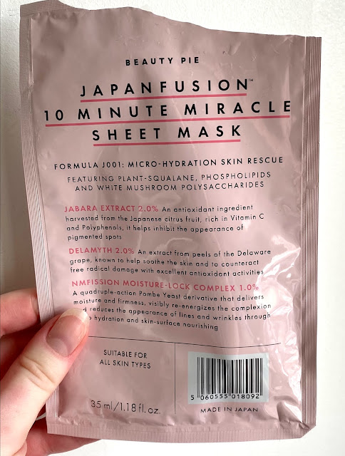 Beauty Pie Japanfusion 10 Minute Miracle Sheet Mask