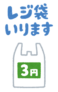 「レジ袋いります」のイラスト(3円)
