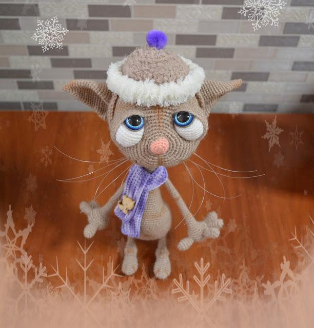кот вязаный,игрушка вязаная,игрушка,игрушка ручной работы,подарок,игрушка крючком