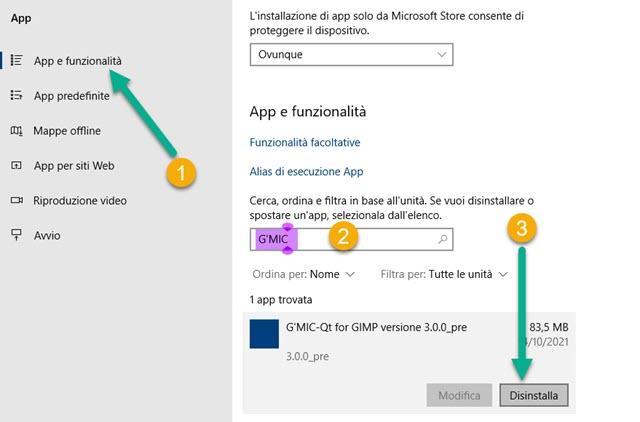 disinstallare GMIC in Windows