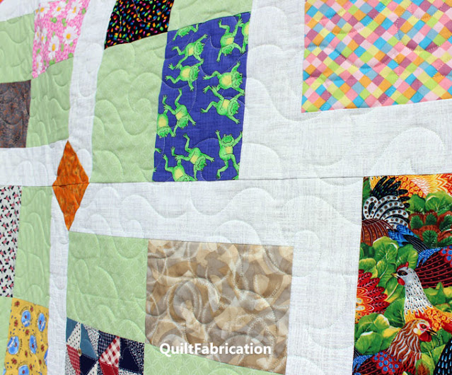 quilt blocks in green plus prints