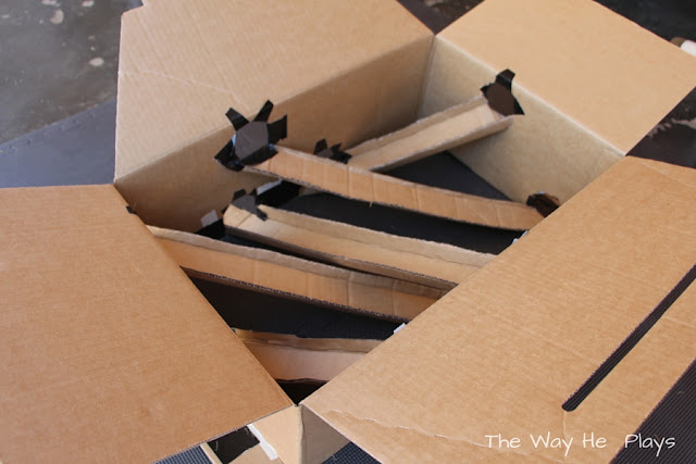 Inside view of the box with ramps