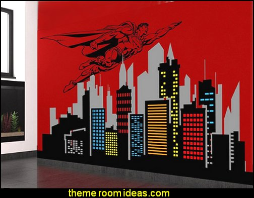 Superman Flying Over City Skyline Buildings Wall Decal