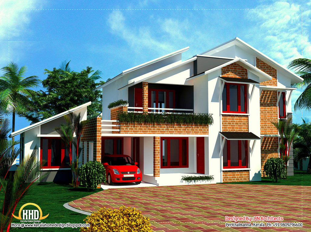 4 bedroom sloping roof house in kerala 2354 sq ft for Sloped roof house plans in india