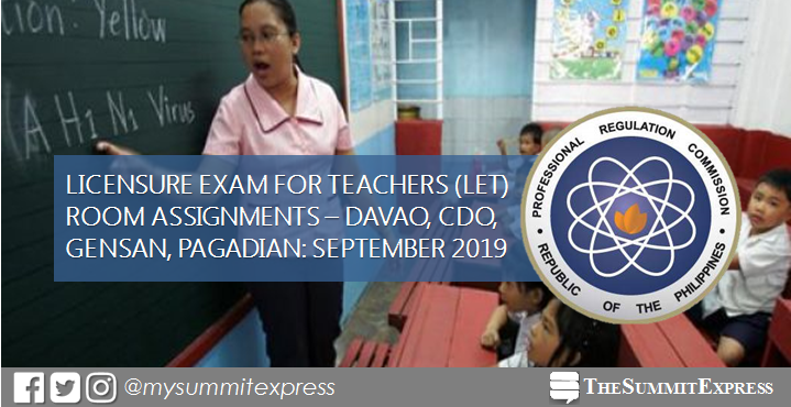 Room Assignments September 2019 LET CDO, Davao, Gensan, Pagadian