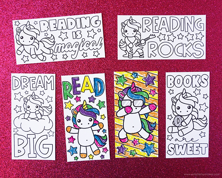 Free Printable Unicorn Coloring Bookmarks