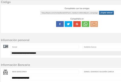 Stipio panel de cuenta de usuario