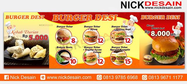Contoh Desain Spanduk Stand Booth  Burger Percetakan Murah Tanjungbalai