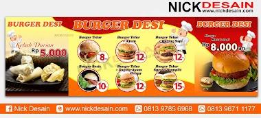 Contoh Desain Spanduk Stand Booth  Burger | Percetakan Murah Tanjungbalai