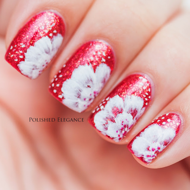 Powder Perfect - Isabelle swatch review one stroke nail art flowers manicure one stroke flowers