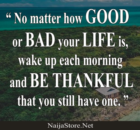 Life Quotes: No matter how GOOD or BAD your LIFE is, wake up each morning and BE THANKFUL that you still have one - Motivation