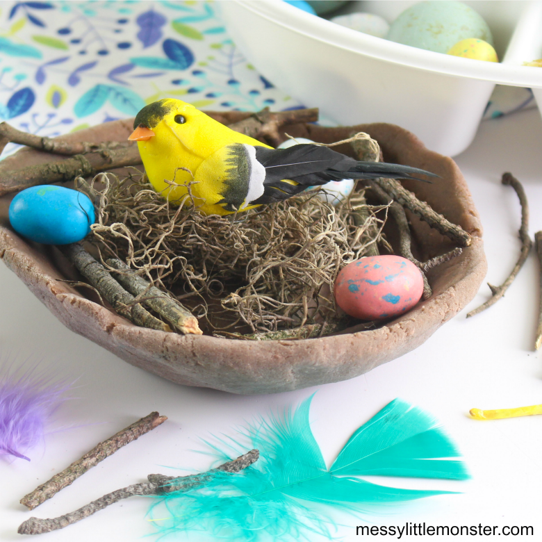 DIY build a bird nest playdough activity