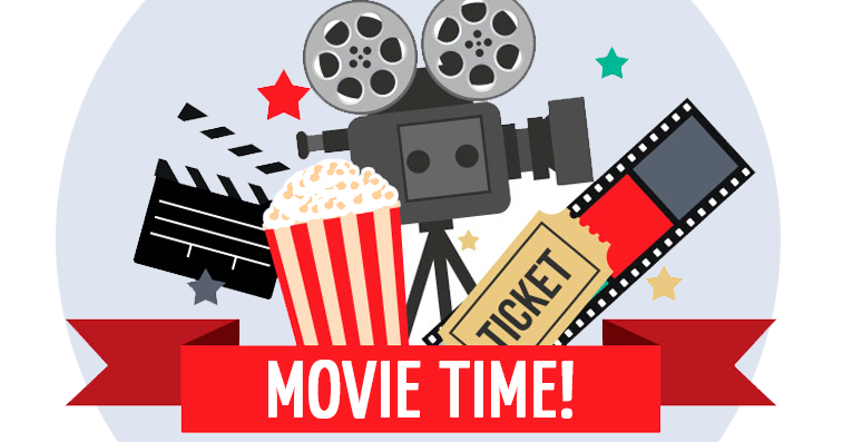 Movie time poster cinema vintage style Royalty Free Vector
