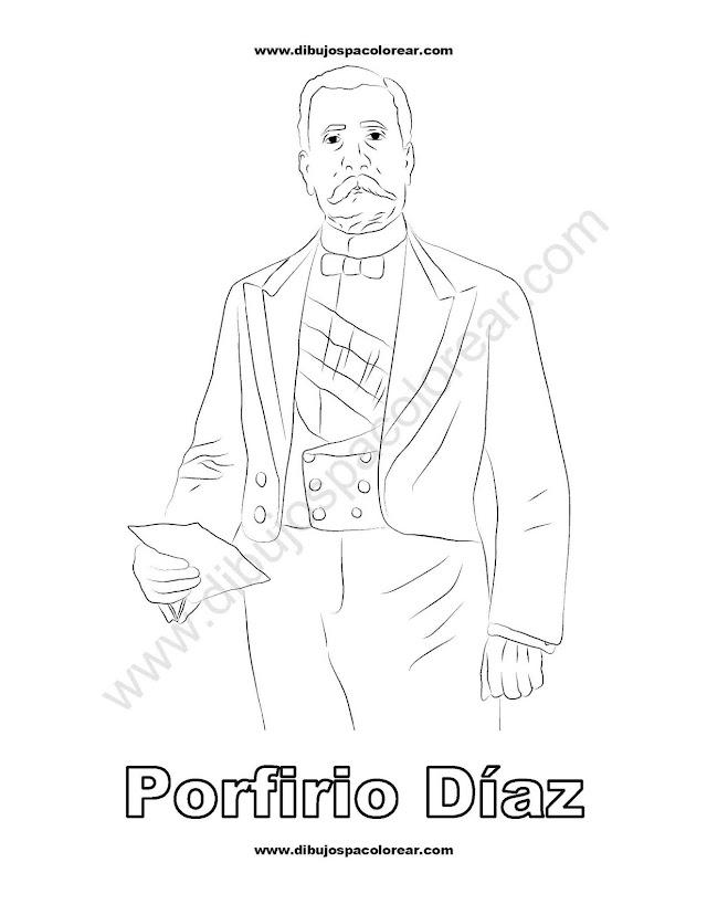 Porfirio Diaz dibujo para colorear