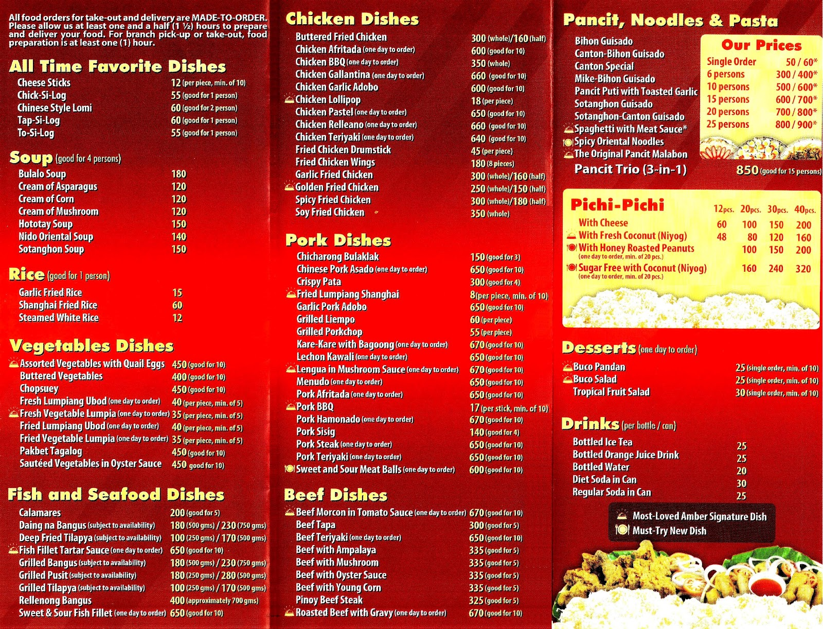 Delivery Ambers Menu