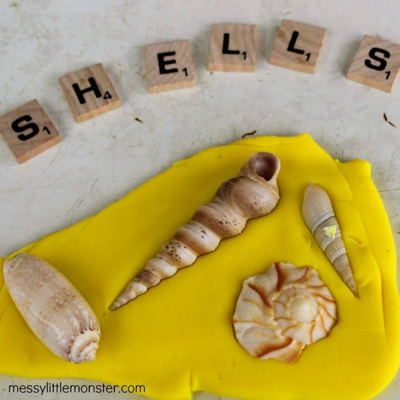 playdough seashell fossils summer activities for preschoolers