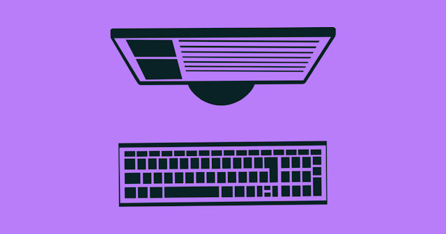 graphic of a computer monitor and a keyboard