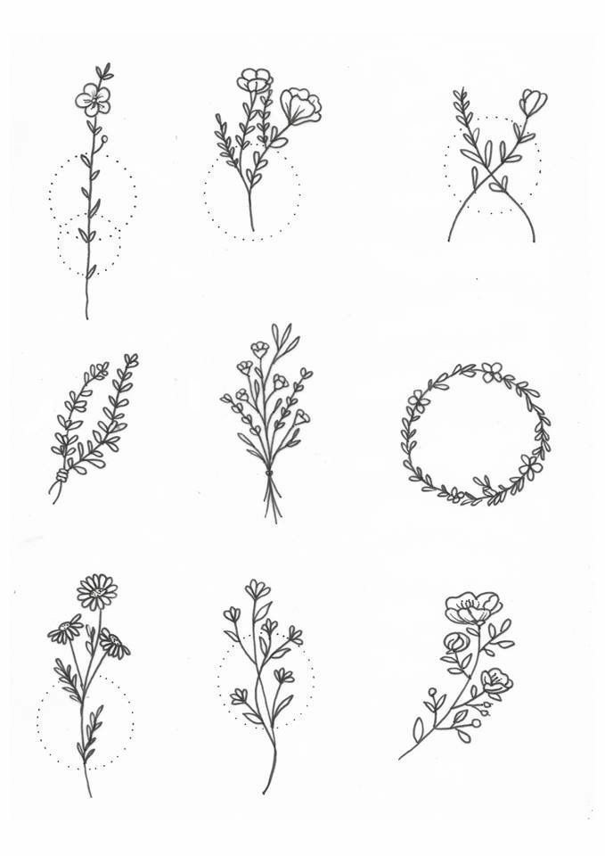 Gambar tato bunga simple