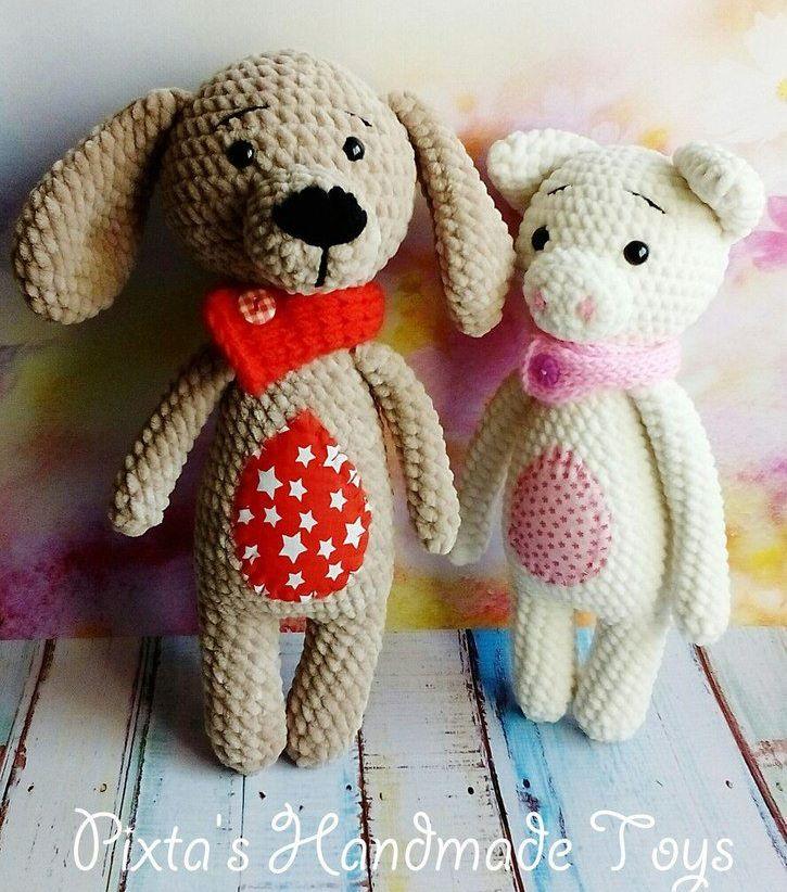 Собака и свинка игрушки амигуруми