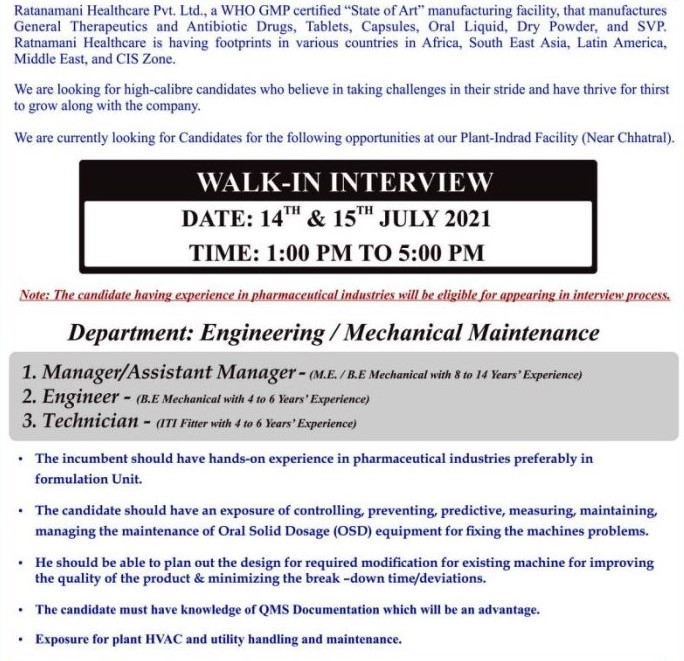 Ratnamani Healthcare Pvt Ltd Recruitments B.E / M.E / ITI Holders For Manager/ Engineer/ Technician Position in  Engineering and Mechanical Maintenance Departments