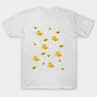 Golden Yellow and White Asters Digital Oil Paint Pattern T-Shirt